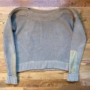 Club Monaco Tan Sweater with Suede Sleeves
